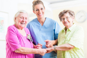 caregiver with her patients